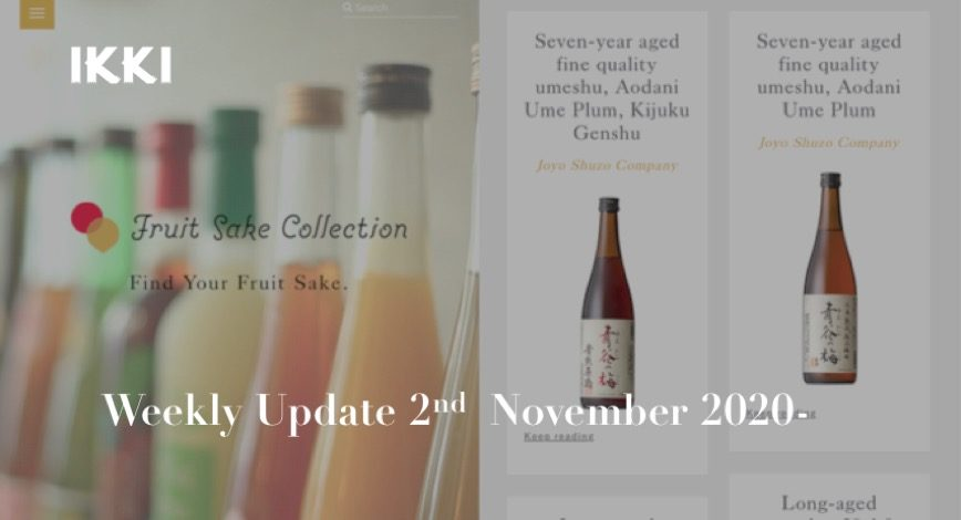 SAKE NEWS from JAPAN – ikki Weekly Update 2nd – 8th November 2020